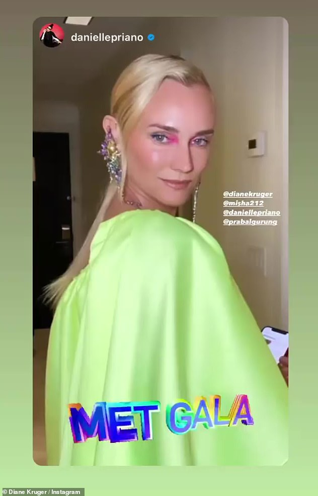 Bold: Diane Kruger looked beautiful in lime green with hot pink eyeshadow
