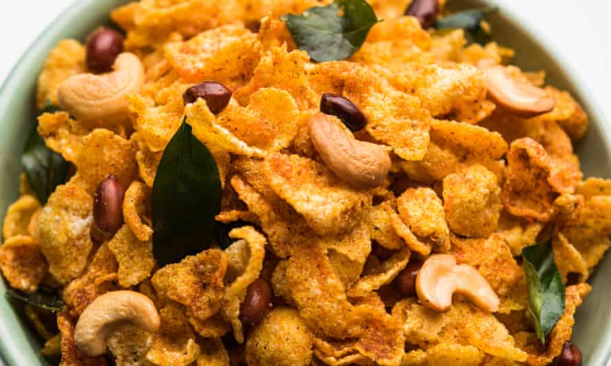 Cornflake chivda – breakfast meets Bombay Mix in a moreish snack.