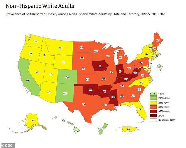Just seven states had an obesity prevalence of 35% or higher among white adults.