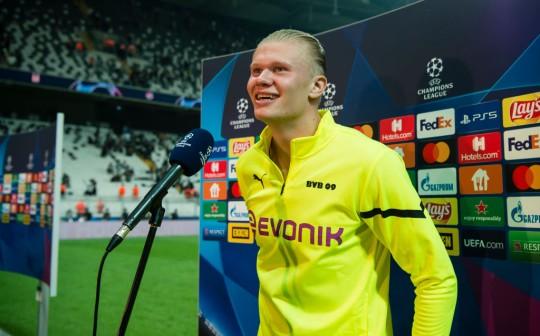 Erling Haaland talks to media after Borussia Dortmund's Champions League clash with Besiktas