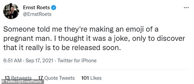 ErnstRoets said he though a pregnant man emoji was just a joke. The new pregnancy options may be used for representation by trans men, non-binary people, or women with short hair