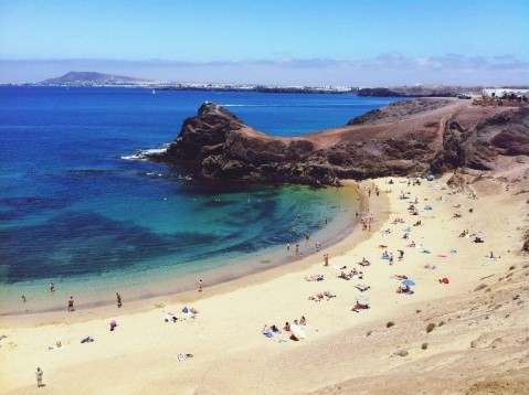 High angle view of people on beach in the Canary Islands.