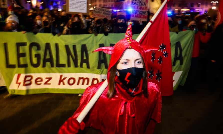 A protest against restrictions on abortion in Krakow in March. Poland has imposed a near-total ban.