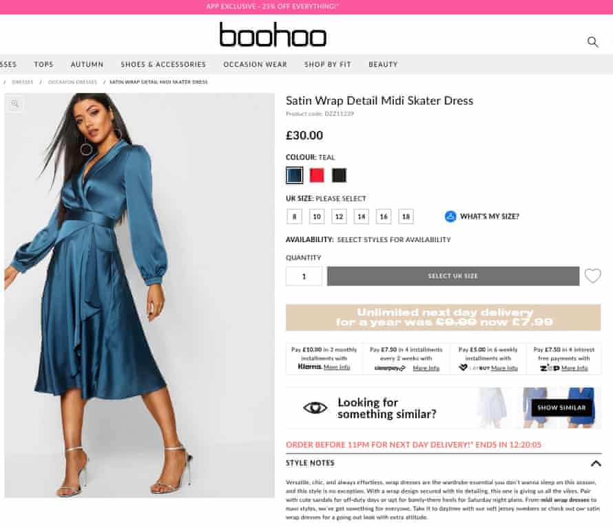 Boohoo's skater dress on its website, show several payment options.