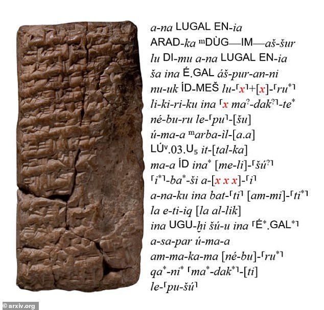 A clay tablet with its corresponding Latin transliteration. Portions of text that are missing due to deterioration are indicated with an 'x' and highlighted in red.