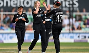 Hannah Rowe (c) celebrates with Amy Satterthwaite of New Zealand after taking the wicket of Sophie Ecclestone