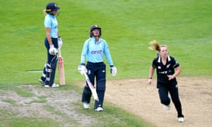 England's Lauren Winfield-Hill (left) and Danni Wyatt react after running to the non-strikers end before the umpire review sees Lauren Winfield-Hill run out by New Zealand's Leigh Kasperek