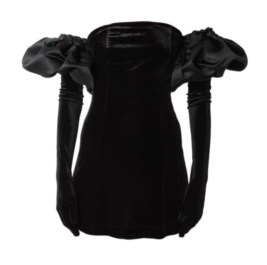 Velvet dress with gloves