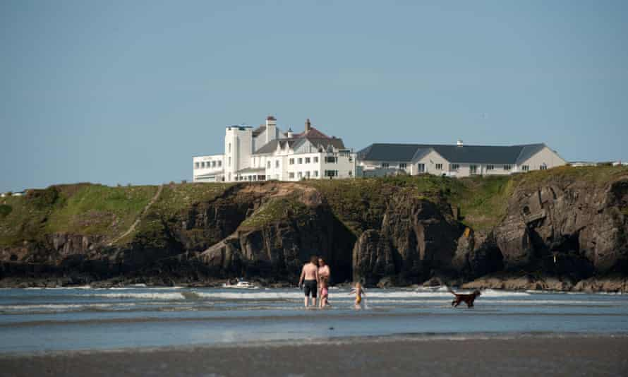 Shore leave: the Cliff Hotel, seen from the beach at Poppit Sands, Pembrokeshire.