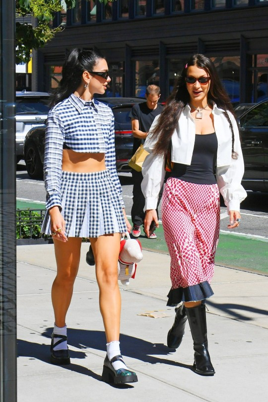 Bella Hadid and Dua Lipa arrive at Gigi Hadid's daughter Khai 1-year-old birthday party in New York