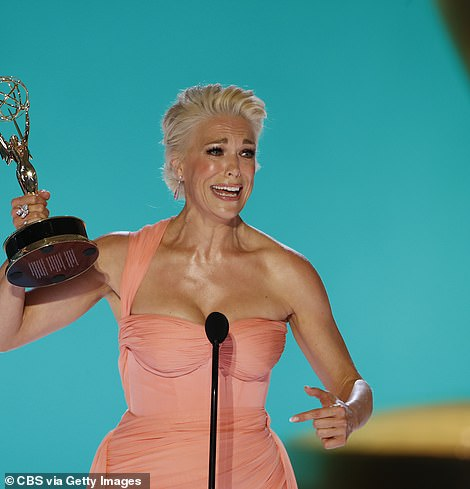 First win: Earlier in the evening, Hannah Waddingham won the first prize of the evening for Supporting Actress in a Comedy series