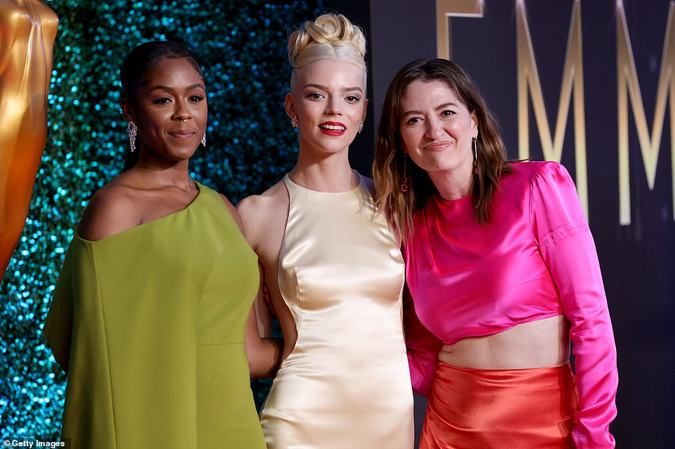 The Queen: Horberg said Taylor-Joy 'brought the sexy back to chess' and 'inspired a whole generation of girls and young women to realize that patriarchy simply has no defense against our queens'; pictured with (L) Moses Ingram and (R) Marielle Heller