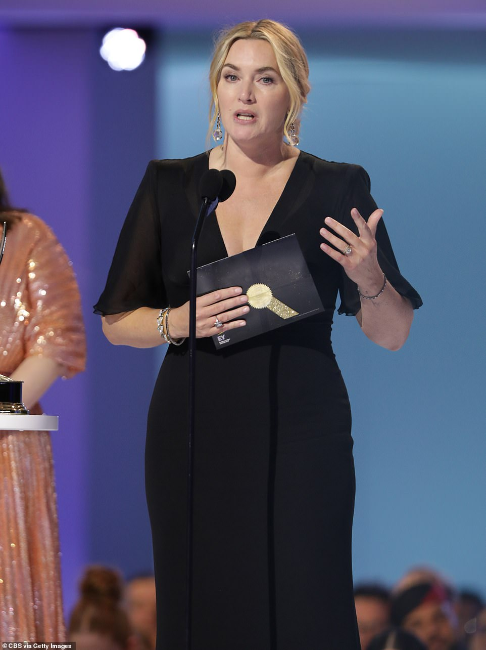 Honored:She saluted her fellow nominees 'in this decade that has to be about women having each other's backs'