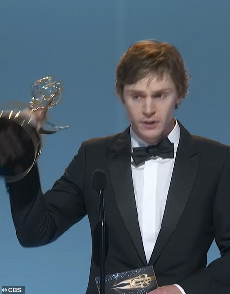Back-to-back: Her costar Evan Peters also won for Best Supporting Actor in a Limited Series or Movie for the same show