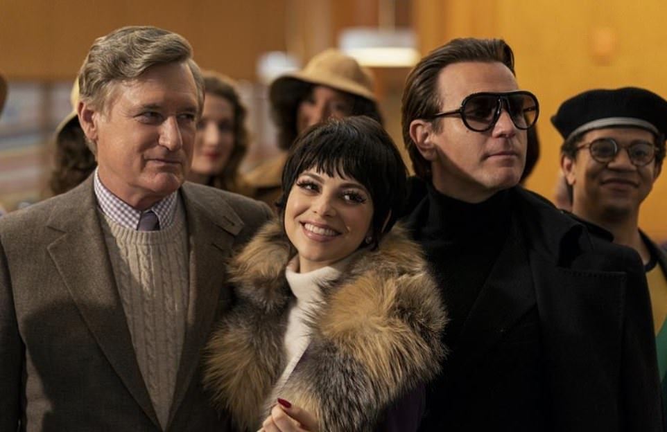 Fashion icon: McGregor stars as the American fashion designer Halston in the limited series. He gave a shoutout from the stage to Executive Producer Ryan Murphy; pictured with (L–R) Bill Pullman and Krysta Rodriguez