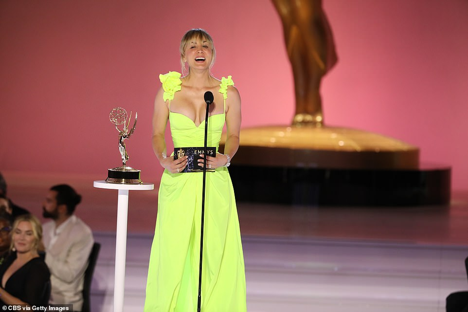 Unmissable: Colbert's award was presented by The Flight Attendant's Kaley Cuoco, who glowed in a neon yellow dress. She wasn't a winner for her own show