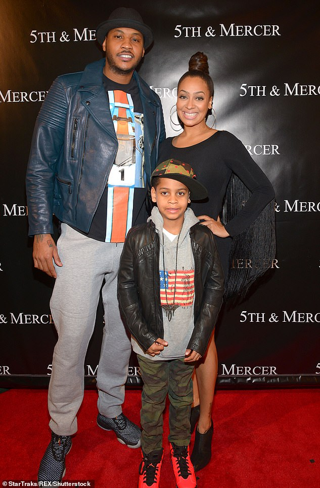 Amicable: In June, the actress filed divorce documents in New York to end her 14-year marriage to NBA player Carmelo Anthony, 37 (Pictured with son Kiyan in 2014)