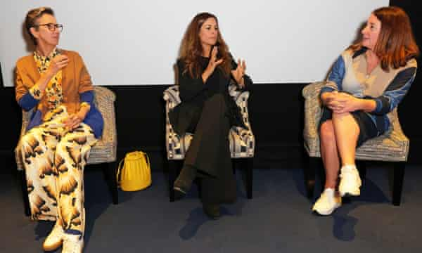 Veronica Bates Kassatly, Livia Firth and Lucy Siegle in debate after the premiere of Fashionscapes: A Circular Economy during London fashion week.