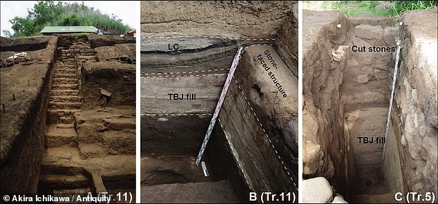 DrIchikawa's analysis revealed that the structure was built out of tephra from the eruption just 5¿30 years after the devastating event ¿ and completed within 80 years. Pictured: excavations revealed the main staircase of the pyramid (left) and how the stone structure of the pyramid was built on deposits from theTierra Blanca Joven eruption (centre and right)
