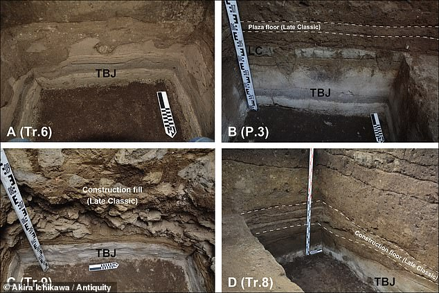 The timing of the construction suggests the pyramid was built in response to the volcano ¿ which like mountains, were sacred in the Mesoamerican worldview. Pictured: excavations revealed that the structure was built on top of the Tierra Blanca Joven deposits