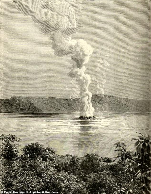 While theAD 539 Tierra Blanca Joven eruption wasIlopango's most dramatic, the volcano has erupted since ¿ with the most recent being in 1879¿80, as pictured in this engraving from 1891