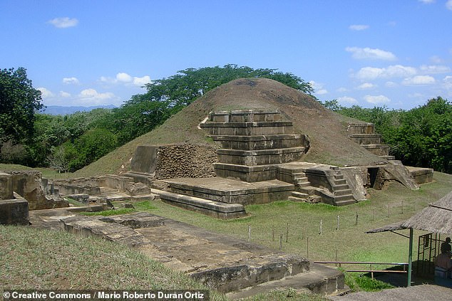 This hypothesis may also account for why a similar spate of construction occurred around 620 AD ¿ in the awake of a second volcanic eruption from Loma Caldera, a mere 3.7 miles (6 kilometres) to the north of San Andrés. According to Dr Ichikawa, the smaller but arguably more elaborate Acropolis structure at San Andrés (pictured) was likely built after the Loma Caldera eruption