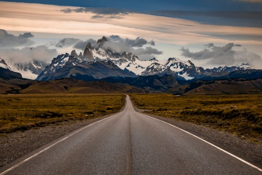 The road in Patagonia. Mount Fitz Roy at dawn. Argentina. Fitz Roy Mountain, El Chalten, Patagonia, Argentina
