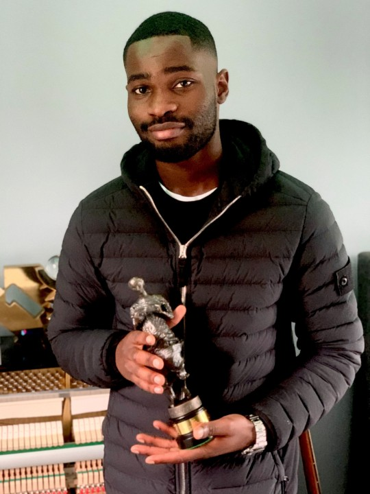 Dave with the 2020 Ivor Novello Award for Best Contemporary Song