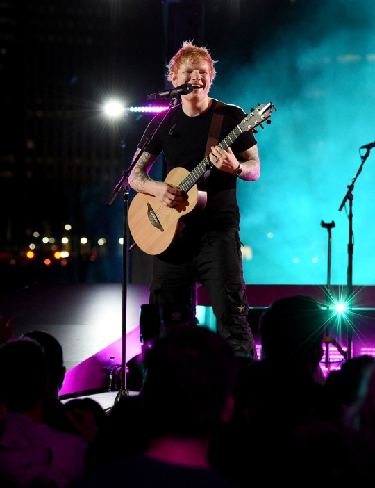 Ed Sheeran performs onstage at Pier 3 in Brooklyn for the 2021 MTV Video Music Awards