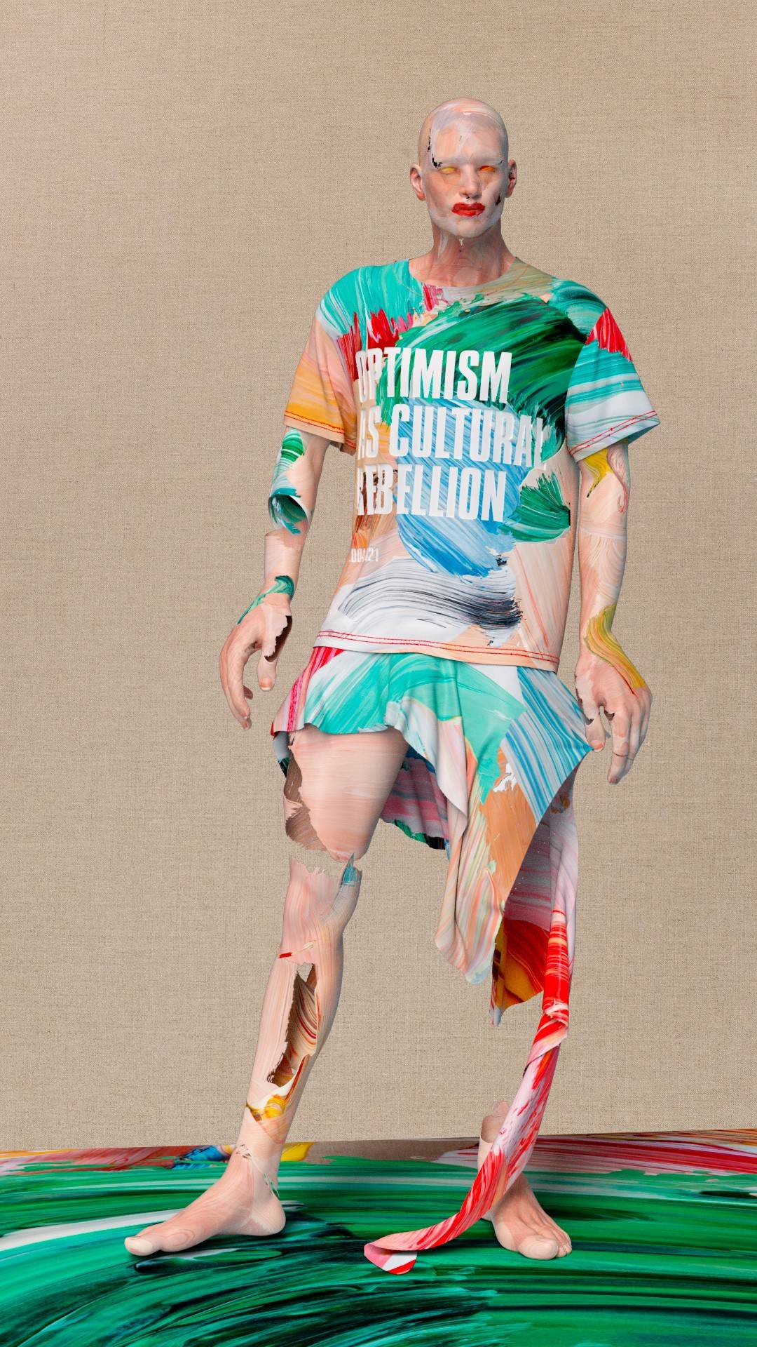 Image: Optimism as Cultural Rebellion 2004-2021 T-Shirt & Skirt by Matthew Stone