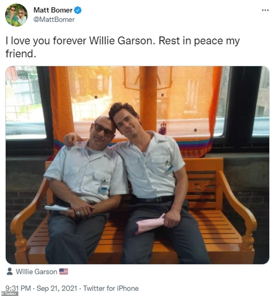 Matt Bowen, who worked alongside Garson on White Collar, tweeted that he would 'love' him 'forever'