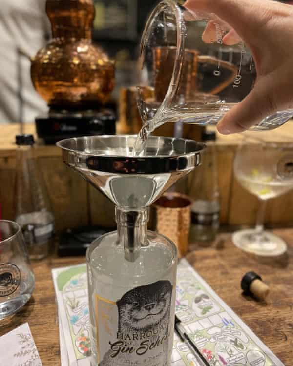 Gin being made.