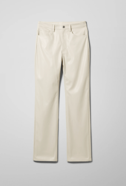 Weekday cream faux leather trousers