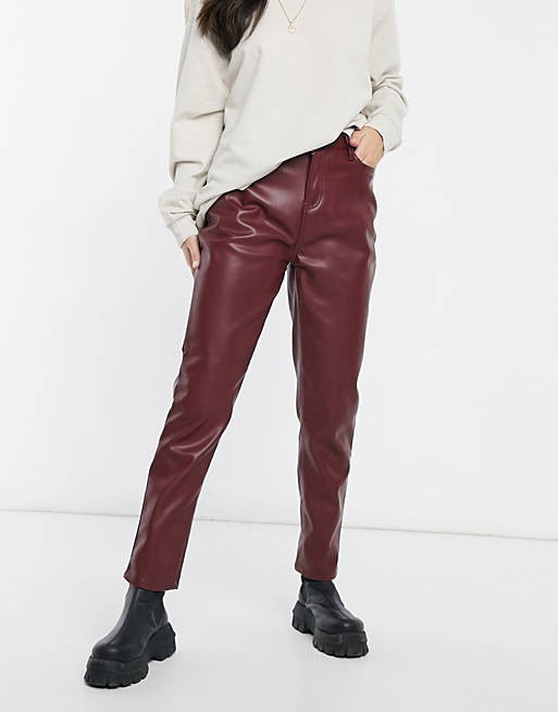 Burgundy faux leather trousers