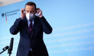 German health minister Jens Spahn (CDU) leaves after addressing the media during a statement on the coronavirus disease (Covid-19) situation in Berlin, Germany,