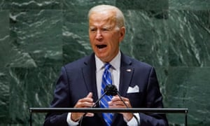 US President Joe Biden addresses the 76th Session of the UN General Assembly in New York on September 21, 2021.