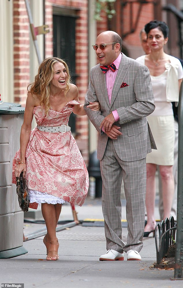 Not ready:The 56-year-old actress made the comment under an Instagram tribute by their castmate Chris Noth, which included a snapshot of her and Garson filming the first Sex And The City film in 2007 (pictured)