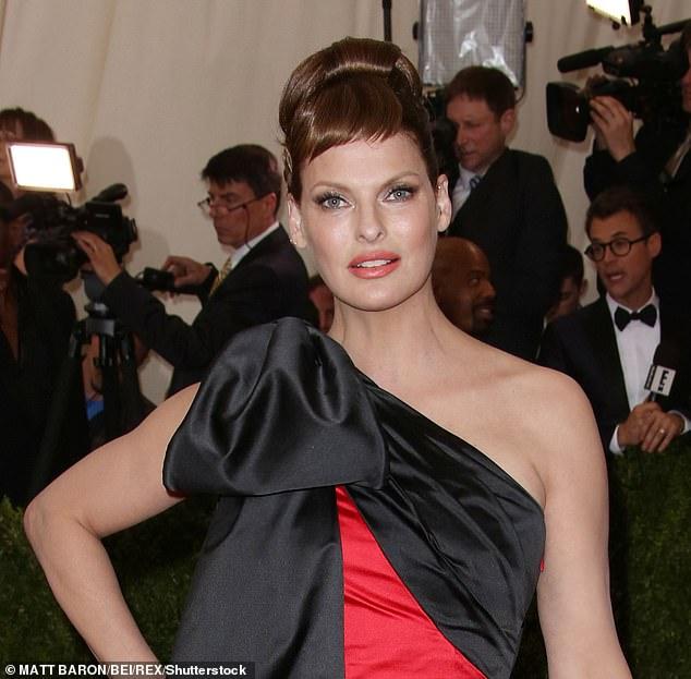 Glam: Linda is seen at the Met Gala in 2015