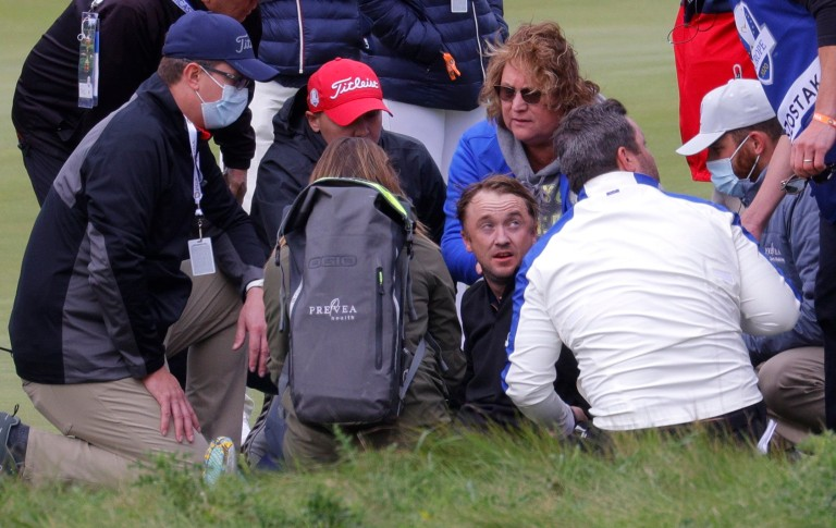 Tom Felton collapses at Ryder Cup celebrity game