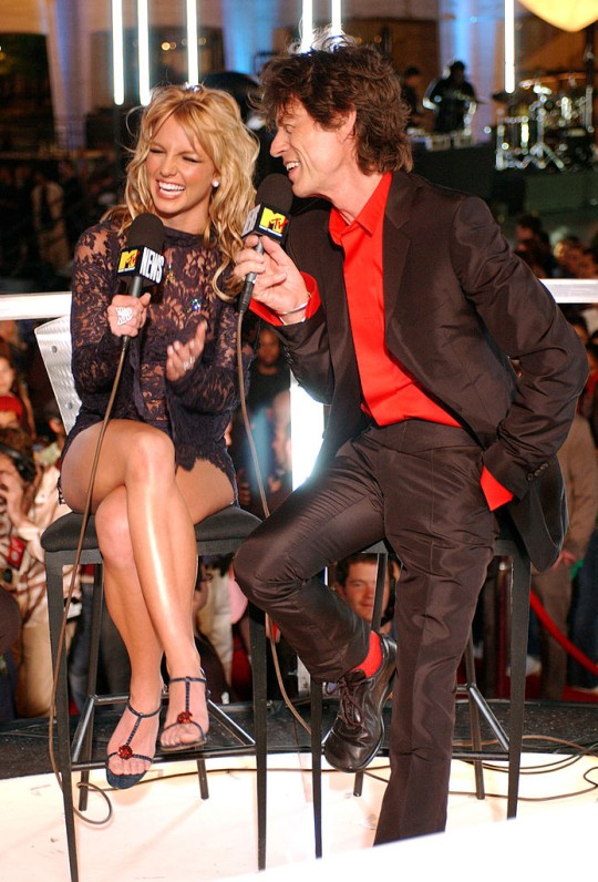 Britney Spears and Mick Jagger at the 2001 MTV VMAs.
