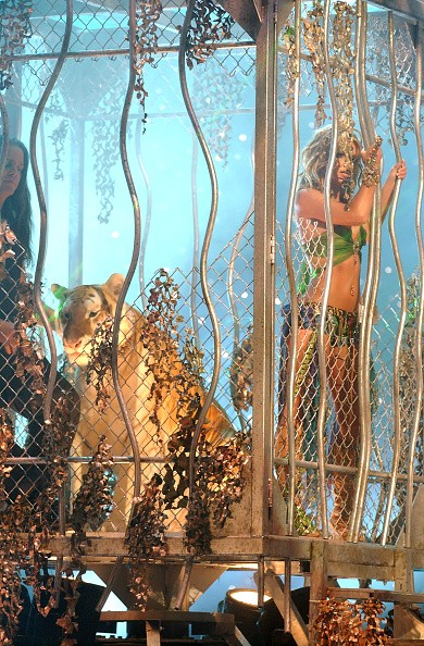 Britney Spears performing at 2001 MTV Video Music Awards.