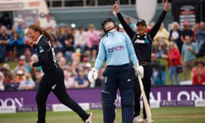England's Tammy Beaumont reacts after Lauren Winfield-Hill loses her wicket.