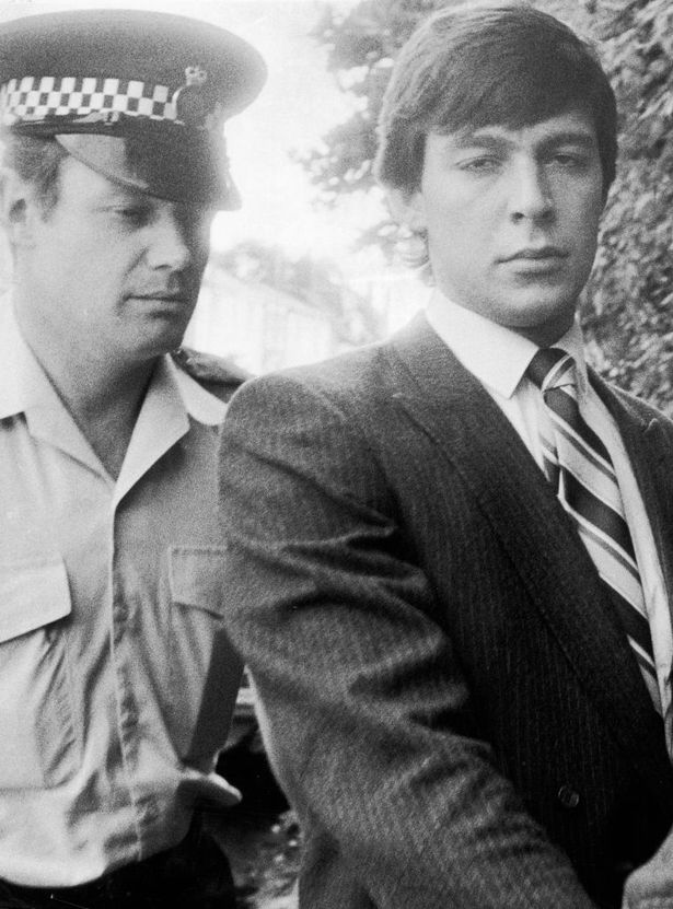 Jeremy Bamber being lead into Chelmsford Crown Court at the start of his trial.