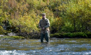 Russian president Vladimir Putin fishes during a short vacation at an unknown location in Siberia, Russia.