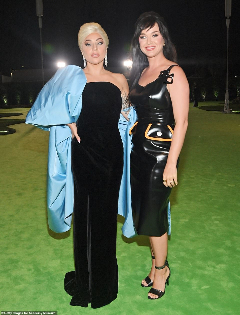 Girl power: Gaga and Katy, whose fans often rival on social media, proved there is enough space in the pop culture sphere for the both of them as they posed for a friendly snap outdoors