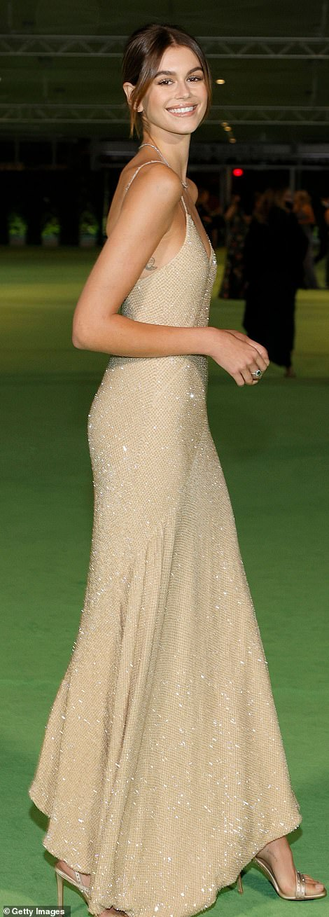 Stunning:She paired it with matching open-toe heels and wore her brunette tresses in a bun