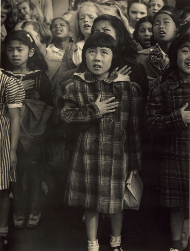 Pledge of Allegiance, Raphael Weill Elementary School, San Francisco; Dorothea Lange (American, 1895 - 1965); San Francisco, California, United States; negative April 20, 1942; print about 1960s; Gelatin silver print; 34 × 25.6 cm (13 3/8 × 10 1/16 in.); 2000.50.16; No Copyright - United States (https://rightsstatements.org/vocab/NoC-US/1.0/)