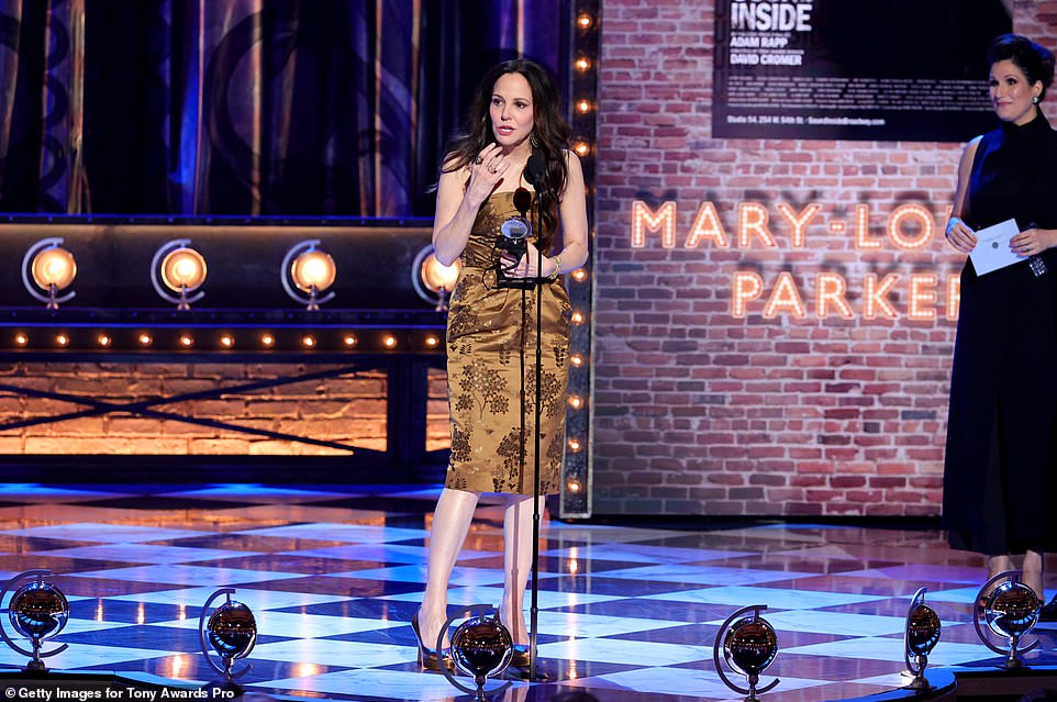 Leading actress:The 57-year-old actress took home Best Performance by a Leading Actress in a Play for her performance in The Sound Inside, beating out Joaquina Kalukango (Slave Play), Laura Linney (My Name Is Lucy Barton) and Audra McDonald (Frankie and Johnny in the Clair de Lune)