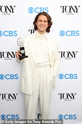 Deserved it: Aaron Tveit was unopposed but still managed to winBest Performance by a Leading Actor in a Musical forMoulin Rouge! The Musical