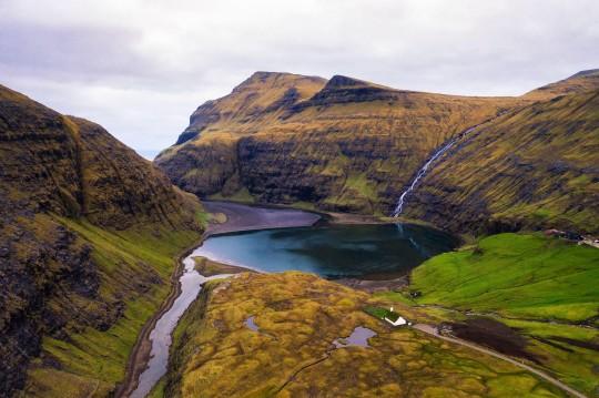 Aerial view of the lake near Saksun on the Faroe islands